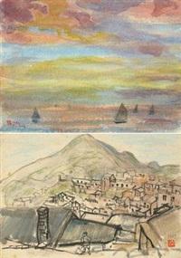 朦胧山城 落霞归航 (2 works) by hong ruiling