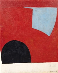 forme bleue sur fond rouge by serge poliakoff