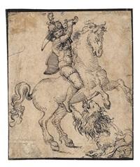 berittener soldat, mit einem löwen kämpfend by jost amman