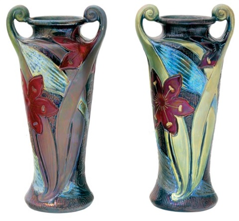 pair of vases with faded tulips by sandor apati abt