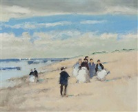 figures on a beach and untitled (2 works) by frederick mcduff