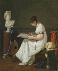 portrait d'une artiste dessinant d'après une antiquité by françois jean (jean françois) sablet