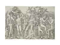 a bacchanal with a wine-press by andrea mantegna