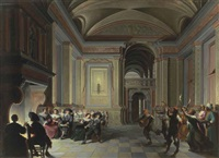 a palatial interior with figures dining and carnival revellers by dirck van delen