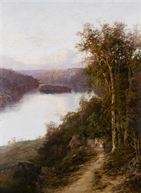 lane cove river from cliffs near bridge, new south wales by william charles piguenit