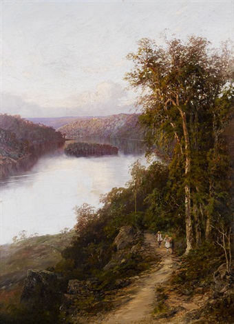 lane cove river from cliffs near bridge new south wales by william charles piguenit