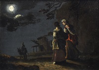 figures walking on a country path in the moonlight by leonard bramer