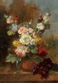 bouquet de fleurs sur un entablement by jean alexandre rémy couder