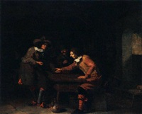 soldiers playing tric-trac in a barn by johannes natus