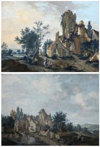 ruines gothiques animées de personnages (+ vue du moulin de montigny près de clermont; pair) by louis le sueur