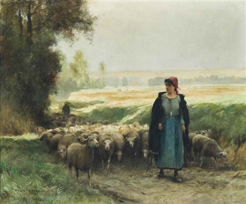 A Shepherd Girl Guiding Flock Of Sheep By Julien Dupre