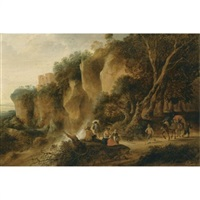 a rocky wooded landscape with travellers and their donkeys on a path by gysbert gillisz de hondecoeter