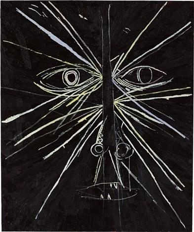 untitled lines on black by mark grotjahn