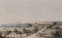 a view of carlisle bay and bridgetown, barbados by charles emilius (lt) gold