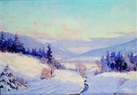 pejzaż zimowy by stanislaw filipkiewicz