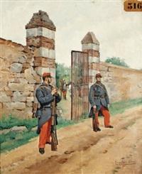 garde de l'enclos des cuirassiers by pierre petit-gérard
