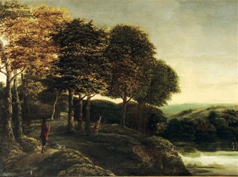 a wooded river landscape with a hunter and his dogs on a track by salomon rombouts