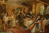 kissing the rite by konstantin egorovich makovsky