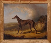 19th c. english school oil on canvas of a whippet dog by british school (19)