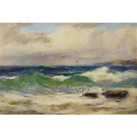 rough sea with rocks and seagulls by william st. thomas smith