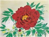 peony in red by okazaki tadao