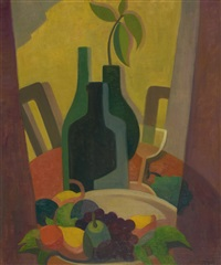 still life with bottles and fruit by alison baily rehfisch