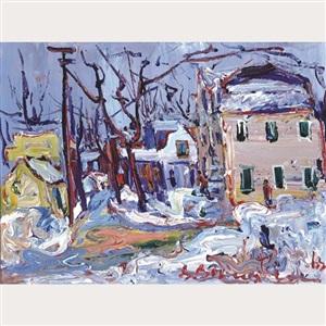 montreal winter street scene by sam borenstein