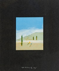 cypress trees at oppedette by craigie aitchison