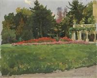 garden in front of the palace in zagorzany by woiciech (aldabert) ritter von kossak