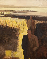 figures in a brown landscape by arthur armstrong