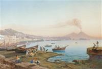 vue de naples de mergellina avec pêcheurs by e. spinosa