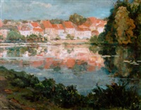 view of a village near the waterfront by maurice paul
