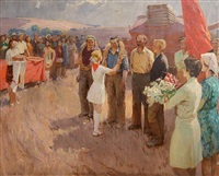 laurel wreath presentation to the harvesters by mikhail krivenko