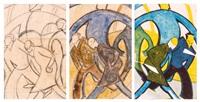 pedestrians (3 works) by ursula fookes