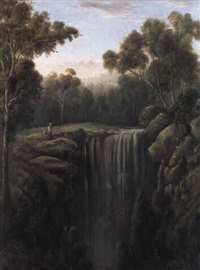 at the waterfall by william short sr.