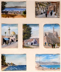 7 miniatures, drawings of israel by franz reichental