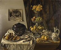 nature morte aux fruits et champignons by joseph albert