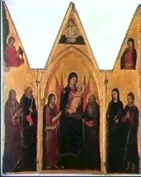 la vierge a l'enfant entoures de deux seraphins,(...) by pisan de taddeo di bartolo