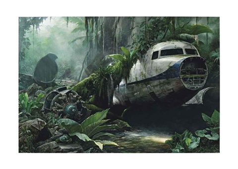 jungle scene with plane wreck by jonathan wateridge