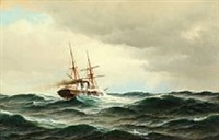 seascape with steamer on high seas by carl ludwig bille