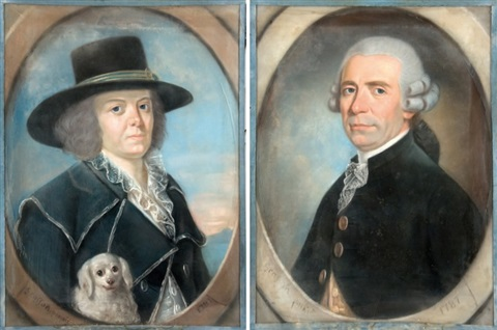 portrait de femme au chien portrait dhomme pair by jean pierre grasson