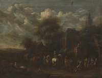 travelers outside a village tavern by barend gaal