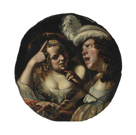 a woman with coins and a man making music and singing by angelo caroselli
