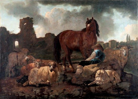 berger cheval et moutons by philipp peter roos