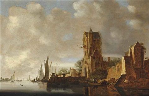 a river landscape with a view of the pellecussenpoort near utrecht by jan josefsz van goyen