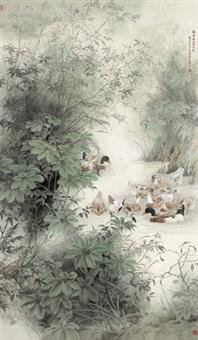 绿染幽谷溪水寒 (ducks in pond) by liu gang