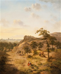 wood gatherers and folk on a wooded hill by jan hendrik verheyen