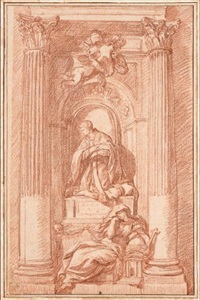 etude d'après un tombeau papal (study) by jean-robert ango