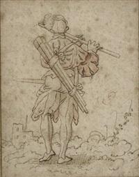 flûtiste de dos jouant dans un paysage by virgil solis