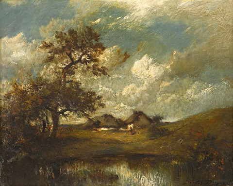 landscape with cottage by jules dupré